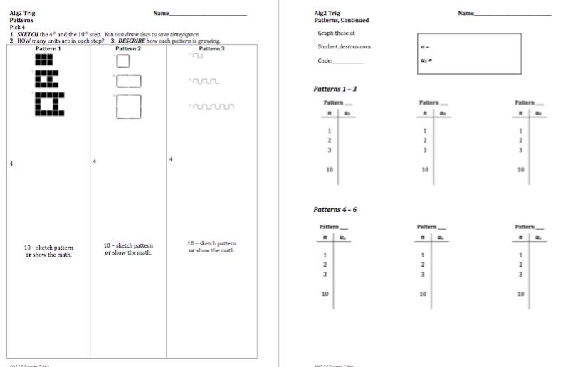 Sequence Patterns Recursive To Explicit Activity Builder By Desmos